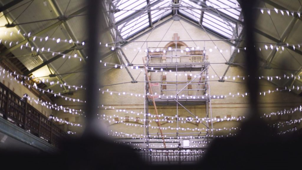 This is a screengrab from our crowdfunding video for Victoria Baths' Amazing Glazing campaign.