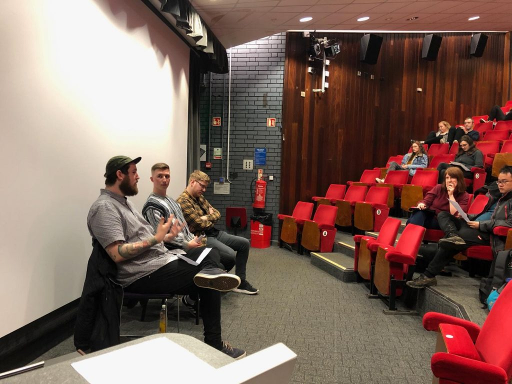 Producer/Director Cain speaking at Staffordshire University